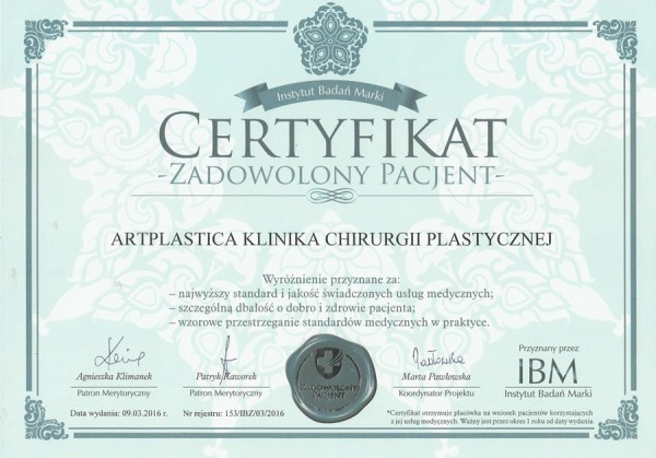The 'Satisfied Patient' Certificate