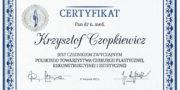 Certyficate - Krzysztof Czopkiewicz - Plastic surgeon